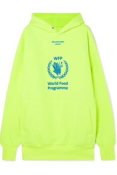 Yellow World Food Programme Printed Neon Cotton Blend Jersey Hoodie Balenciaga Hoodies Balenciaga World Food Programme