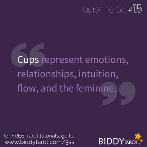 Cups represent emotions, relationships, intuition, flow, and the feminine. #TarotTips #TarotToGo