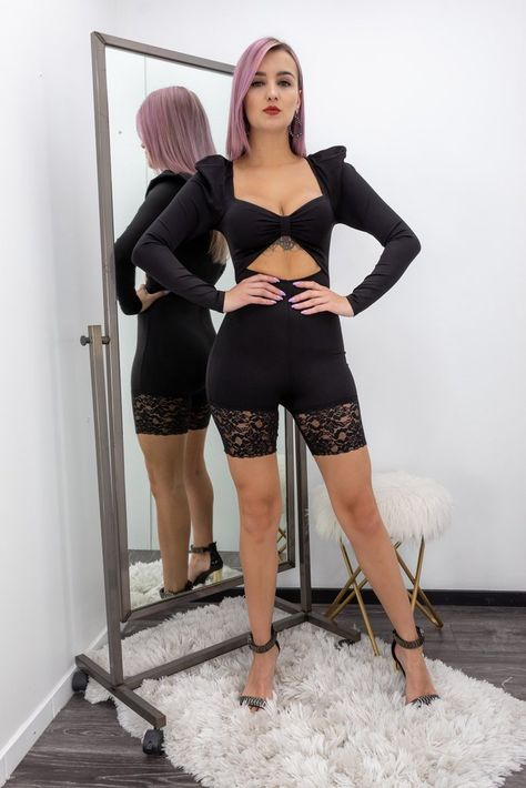 Black Long Sleeve Lace Skinny Romper
