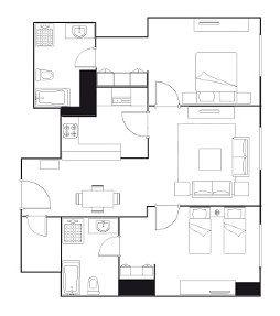 Apartment Design Layout service apartments doha qatar | ascott doha 2-bedroom executive