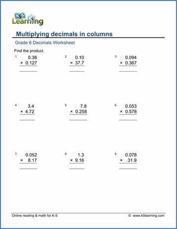 Multiplying Decimals Worksheets 6th Grade Multiplication Worksheets Division Worksheets Multiplication And Division Worksheets