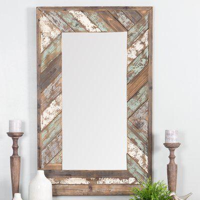 Mistana Ryne Distressed Wood Accent Mirror Wood Slat Wall Mirror Wall Window Mirror Decor