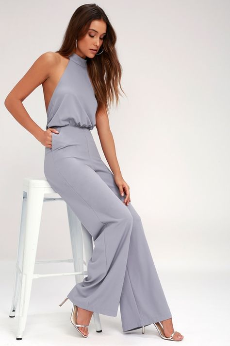 Lulus Exclusive! It's time to grab your camera and capture every second in the Lulus Moment for Life Lavender Halter Jumpsuit! This unforgettable woven number features a high mock neck (with back button closures), and a halter bodice with fitted waist. Attached trousers have hidden side seam pockets, and a chic wide-cut. Hidden back zipper.