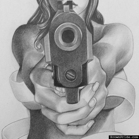 Картинки нарисованная девушка с пистолетом