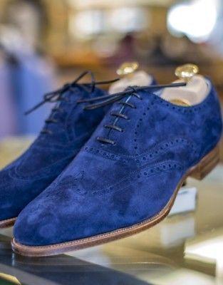 Handmade Mens Royal blue Suede shoes
