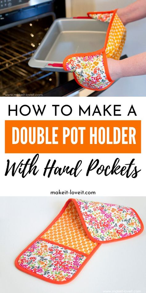Learn how to make a double pot holder with hand pockets. An easy sewing project that you can use in your home or gift to a loved one. Learn how to make a double pot holder with hand pockets. An easy sewing project that you can use in your home or … Sewing Patterns Free, Free Sewing, Hand Sewing, Fabric Sewing, Sewing Hacks, Sewing Tutorials, Sewing Crafts, Sewing Tips, Diy Crafts