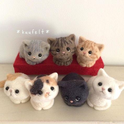 Фотография Needle Felted Cat, Needle Felted Animals, Felt Animals, Cute Animals, Chat Crochet, Felt Finger Puppets, Needle Felting Tutorials, Felt Cat, Felt Toys