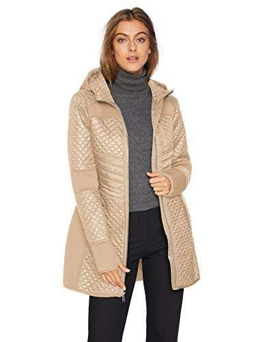 2987c54f1 London Fog Women's Zip Front Thigh Length Quilt and Knit Coat with ...
