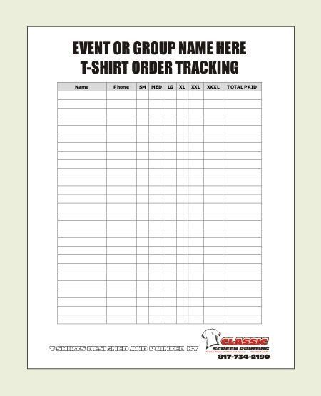 32 T Shirt Order Forms In 2020 T Shirt Design Template Order