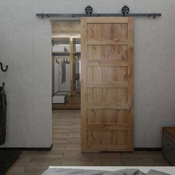 Paneled Manufactured Wood Primed Shaker Barn Door Without Installation Hardware Kit In 2020 Interior Barn Doors Wood Barn Door Barn Door