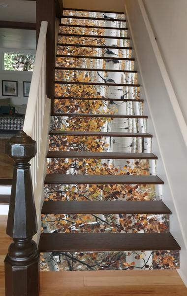 """""""Birch in Autumn"""" riser decals from RISERart! makes your stairway a seasonal celebration - easy on and off without mars or residue."""