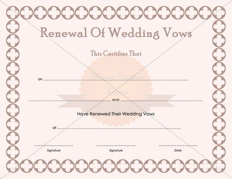 Printable Renewal Of Marriage Vows Certificate Template - anniversary certificate template