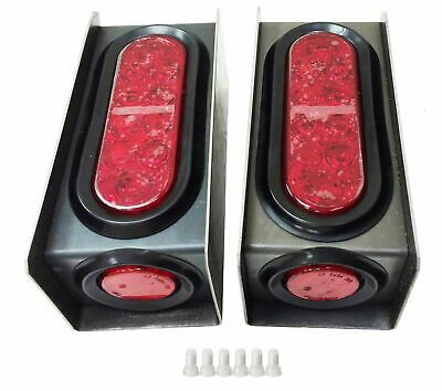 2 Steel Trailer Light Boxes W Red 6 Oval 2 Marker Led Lights Wire Connector In 2020 Led Trailer Lights Trailer Axles Tail Light