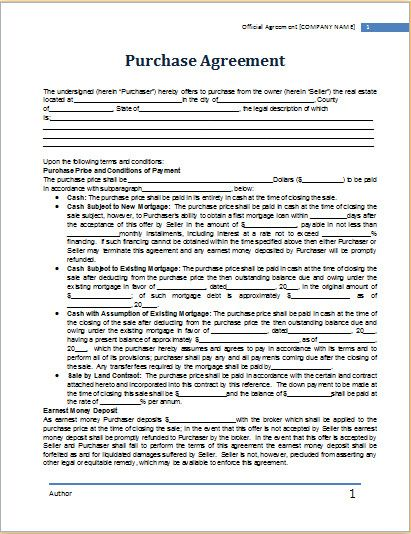 Free Wholesale Contract Template Elegant Ms Word Purchase Agreement Template Purchase Agreement Real Estate Contract Wholesale Real Estate
