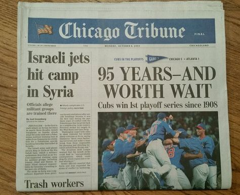"Chicago Cubs  Oct. 6, 2003 Chicago Tribune Newspaper ""95 Years And Worth Wait""…"