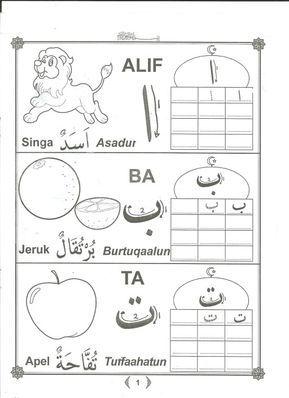 Mewarnai Dan Menulis Huruf Hijaiyah Dan Angka Arab Dengan Gambar