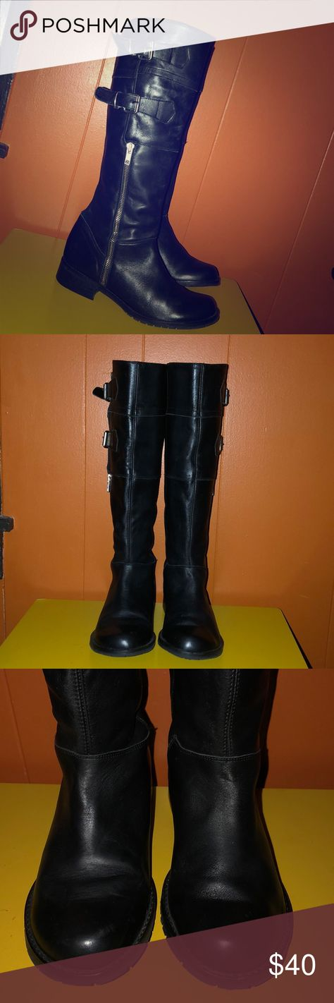 f79010c95bd Steve Madden Tall Black Leather Zip Moto Boots 9 Steve Madden Tall Knee  High Black Leather