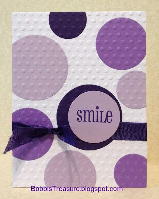 Bobbi's Treasure: Let Me Repeat - OWH Boot Camp Card with circles in purples with embossing and ribbon