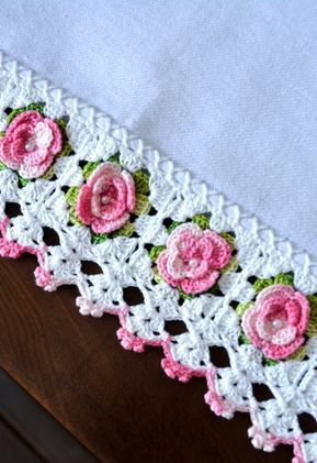 Barrado Com Mini Rosas Circulo S A Bicos De Croche Simples