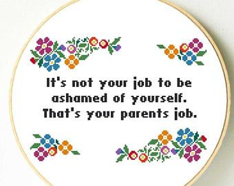 Check out our funny cross stitch selection for the very best in unique or custom, handmade pieces from our shops. Funny Cross Stitch Patterns, Cross Stitch Borders, Cross Stitch Flowers, Cross Stitching, Cross Stitch Embroidery, Embroidery Patterns, Funny Cross Stitches, Funny Birthday Gifts, Funny Gifts