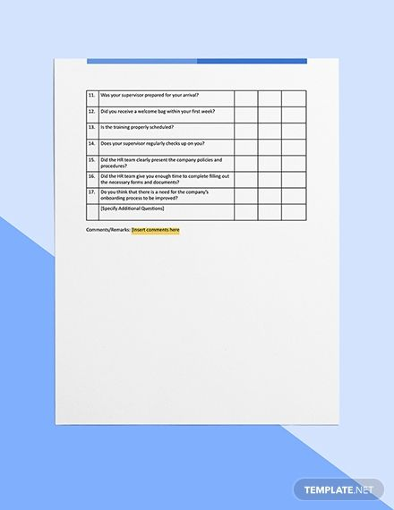 Employee Onboarding Survey Template Word Doc Apple Mac Pages Google Docs Survey Template Employee Onboarding Survey Template Word