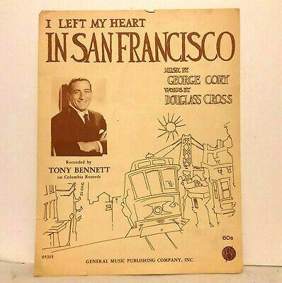 I Left My Heart In San Francisco 1954 Sheet Music Tony Bennett Ebay Tony Bennett Sheet Music Song Book