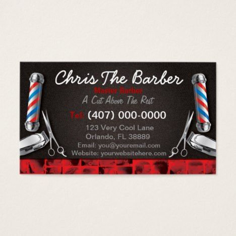 Barbershop Business Card Barber Pole And Clippers Zazzle Com Barber Business Cards Barber Shop Barbershop Design