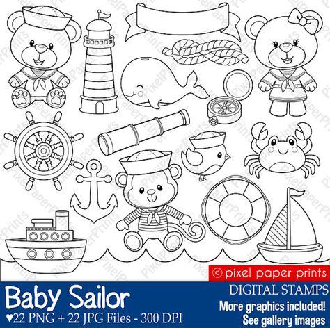 Baby Sailor Stamps - Digital stamps - Clip art