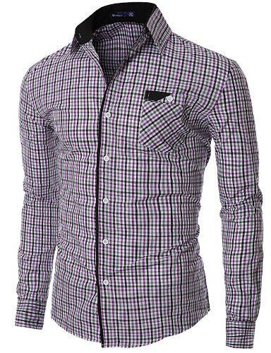 BYWX Men Long Sleeve Checkered Regular Fit Button Down Business Dress Shirts