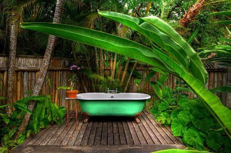 bathtub in the garden