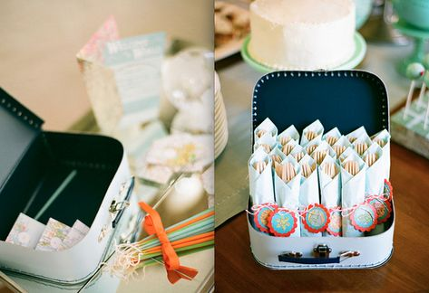 """A Welcome to the World baby shower via You are my Fave. If you love maps this the baby shower for you. Could also be a neat """"meet and greet"""" or """"sip and see"""" shower theme."""