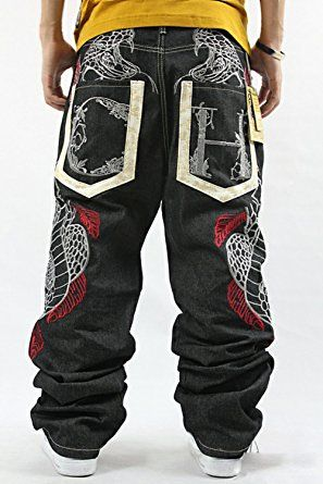 QBO Mens Hip Hop Graffiti POW Print Baggy Relaxed Denim Jeans