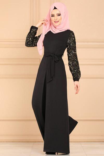 Modaselvim Tulum Kollari Pul Payetli Tulum 6602m108 Siyah Kadin Giyim Kiyafet Elbiseler