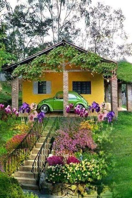Casa Amarela E O Meu Fusca Verde Casas De Fazenda Simples Casas