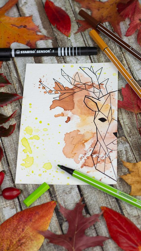 To create the paint splashes around the stag, we used a brush and some water. We love the STABILO Pen 68, especially because it is so easy to paint with water. 47 colors including neon and pastel promise endless creativity and countless drawing options. #stabilo #stabilooriginal #stabilopen68 #pen68 #felttippen #aquarelle #watercolored #watercolor #color #stag #geometrical #art #inspiration #colorful #autumn #fall #stabilosensor #green #brown #leaves #creative #creativity