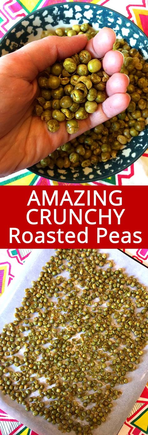 These dried green peas are so crunchy and addictive! Roasted in the oven, these crispy baked green peas are my favorite snack! They are so healthy, you can snack on them anytime!