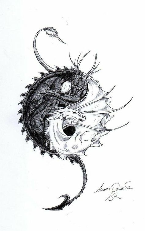 yin and yang, two dragons intertwined, dragon tattoo design, black and white pencil sketch, white background