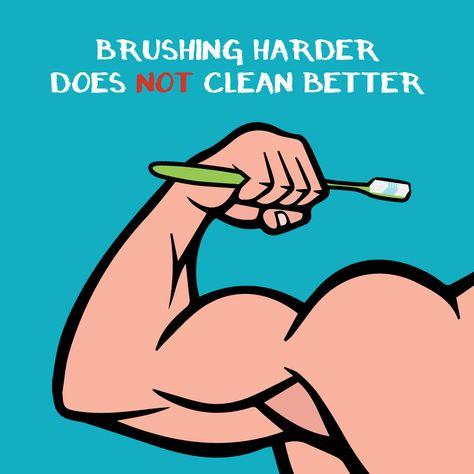 .Cepillarte más fuerte no significa que estés limpiando mejor tus dientes. De hecho, si te cepillas demasiado fuerte puedes llegar a dañar tus encías y causar una infección periodontal.  Así es que recuerda: usa un cepillo de cerdas suaves y cepíllate con movimientos circulares.