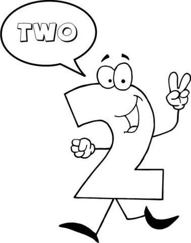 El Número 2 Se Dice Dos Dibujo Para Colorear Categorías Números De