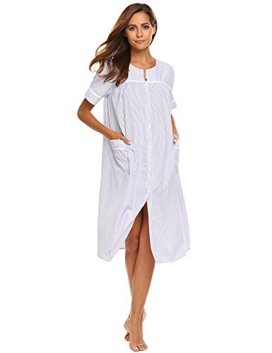 LADIES STRIPE  COTTON RICH JERSEY SHORT SLEEVE  NIGHTIE NIGHTDRESS NIGHTWEAR