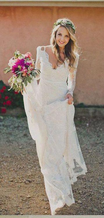 Gorgeous Long Sleeve Lace Wedding Dresses Bohowedding