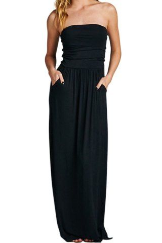 Casual black strapless maxi dress