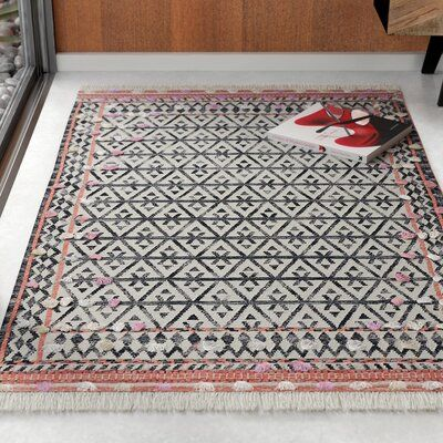 Velma Southwestern Handwoven Wool Cotton Charcoal Area Rug Rug Size Rectangle 3 X 5 Area Rugs Rugs Southwest Area Rugs