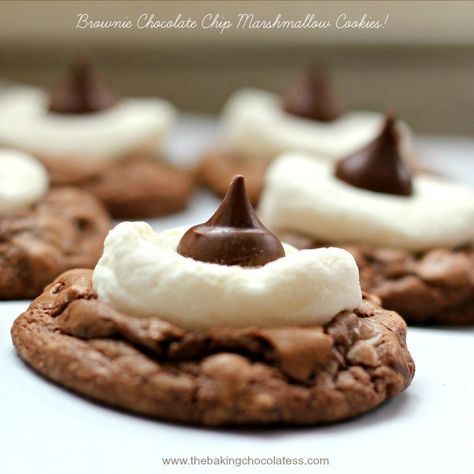 Hubba-Hubba! Calling all 'Chocolaholic' Brownie Cookie Addicts! Do you like marshmallow gooey-ness in your chocolate chip brownie cookies? Say WHAT!???? What, you've n...
