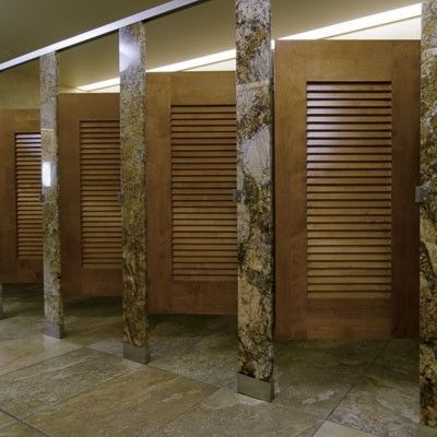 Bathroom Partitions Ideas stone toilet partitions with wood louvered doorsironwood