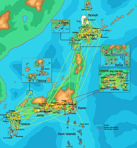 Pokemon Airlines Route Map 2013 by MaxCheng95 | Pokemon, Map ...