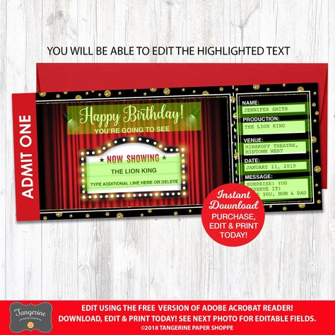 Birthday Theatre Ticket Gift, Surprise Broadway Show, Surprise Show Ticket Printable, Musical Show Ticket, Editable Theater Ticket