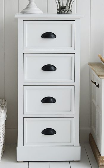 4 Drawer White Narrow Chest With Images Bathroom Furniture Drawers Furniture