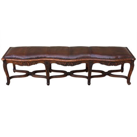 1stdibs Carved French Leather Upholstered Bench Cadeiras
