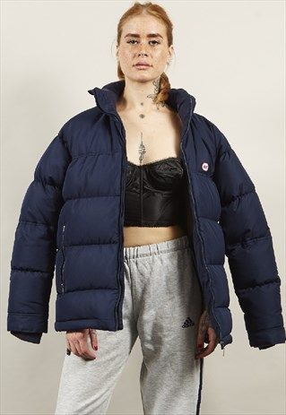 new products preview of wholesale price VINTAGE 90'S NIKE LOGO OVERSIZED NAVY PUFFER JACKET ...